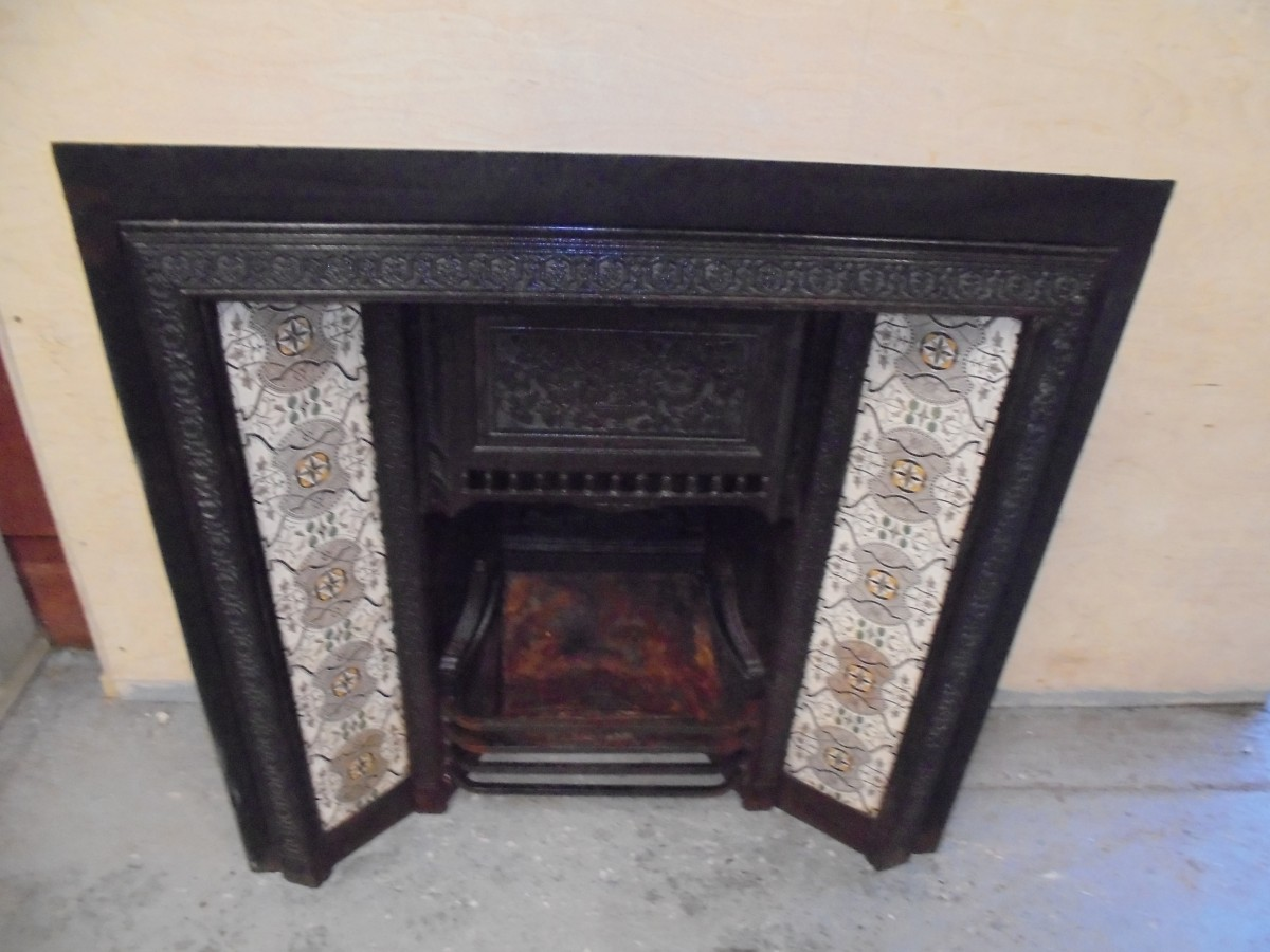 Victorian Cast Iron Tiled Fire Insert Authentic Reclamation