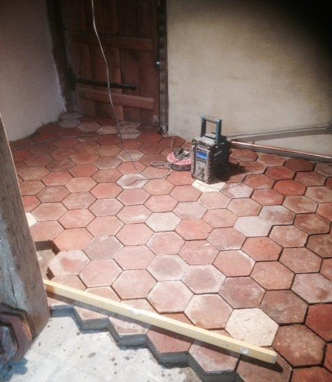 Hexagonal French floor tiles