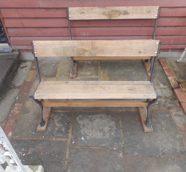 Oak bench with cast iron ends authentic reclamation for Cast iron table ends