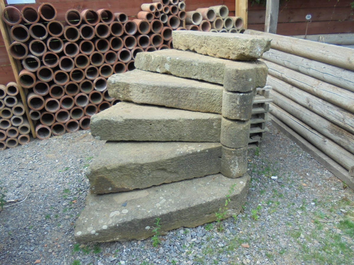 French Half Spiral Stone Steps Authentic Reclamation