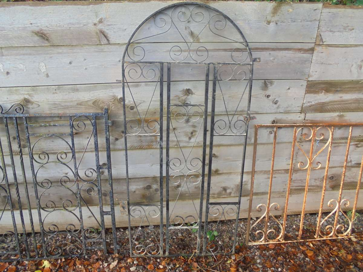 Arched wrought iron gate frame set authentic reclamation
