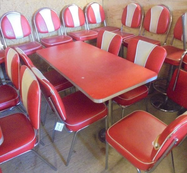 Reclaimed Red American Style Diner Table