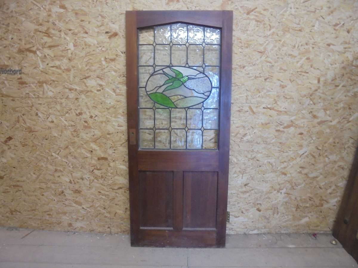 900 #3E608D Reclaimed Stained Glass Half Glazed Door Authentic Reclamation image Doors Half Glass 42031200