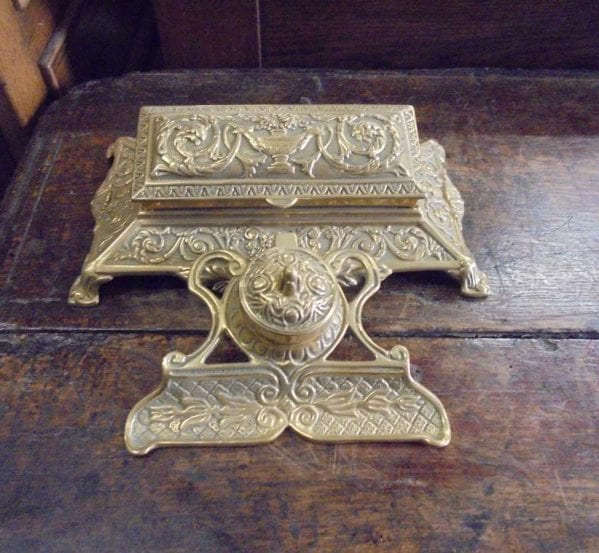 Reclaimed Decorative Gold Inkwell and Stamp Holder