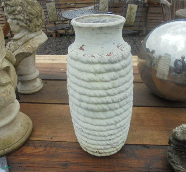 Small Reclaimed Painted White Pot