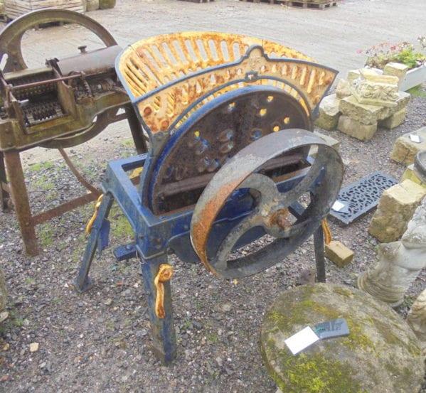 Reclaimed Painted Metal Wheat Grinder