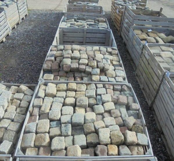 Mixed Coloured Cubed Granite Cobbles