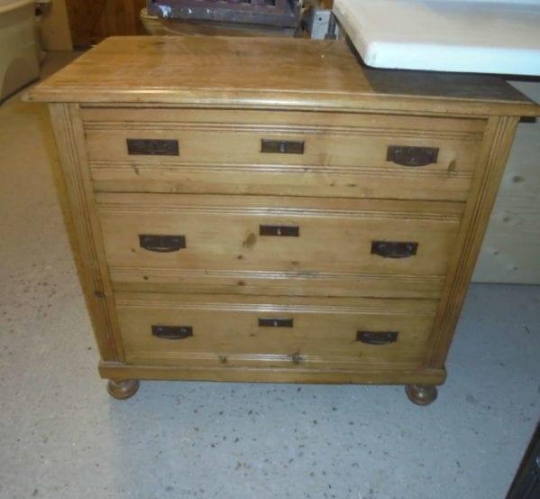 antique pine chest of three draws