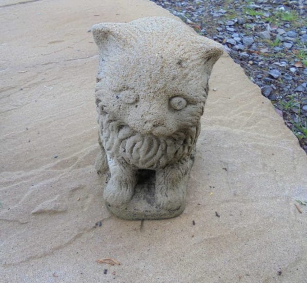 Small Reclaimed Stone Cat Statue