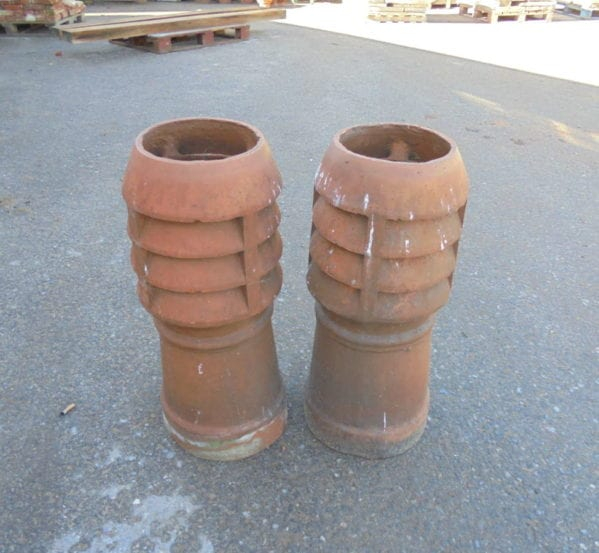 pair louvred chimney pots