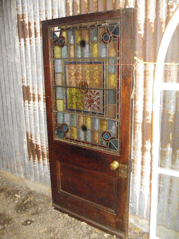 Early 20th Century Leaded Stained Glass Door Authentic Reclamation
