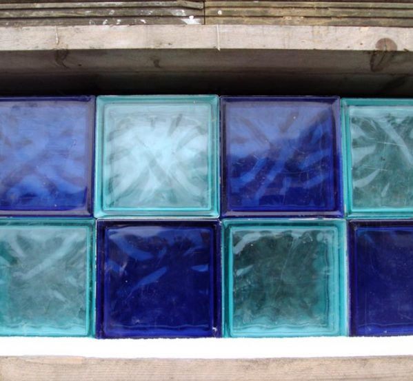 Modern Glass Bricks in Light and Dark Blue