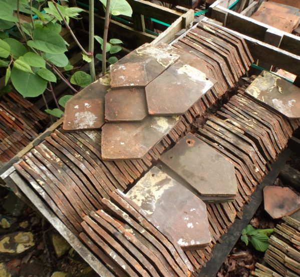 reclaimed ornamental arrowhead tiles