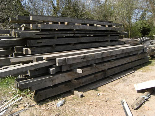 new seasoned oak beams