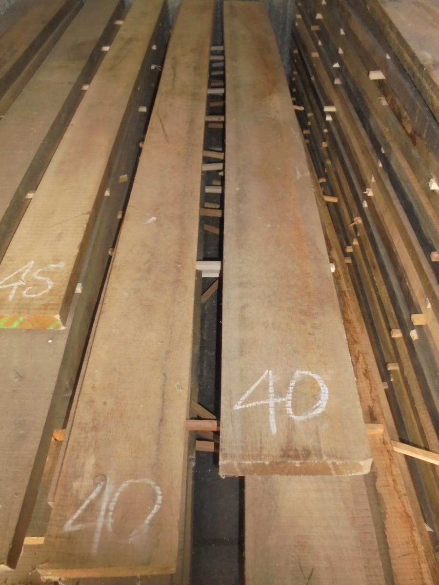 40mm Rough Sawn Green Oak Boards Authentic Reclamation