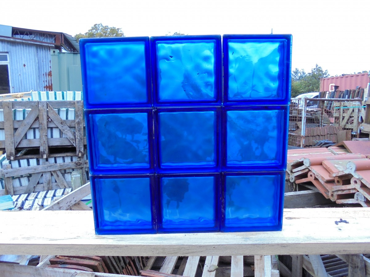 blue glass bricks authentic reclamation