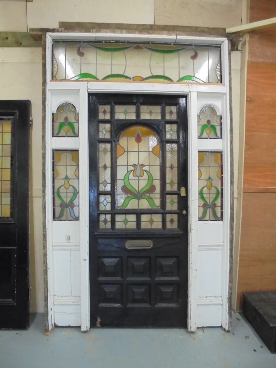 Sold Sold & Edwardian stained glass door and frame - Authentic Reclamation