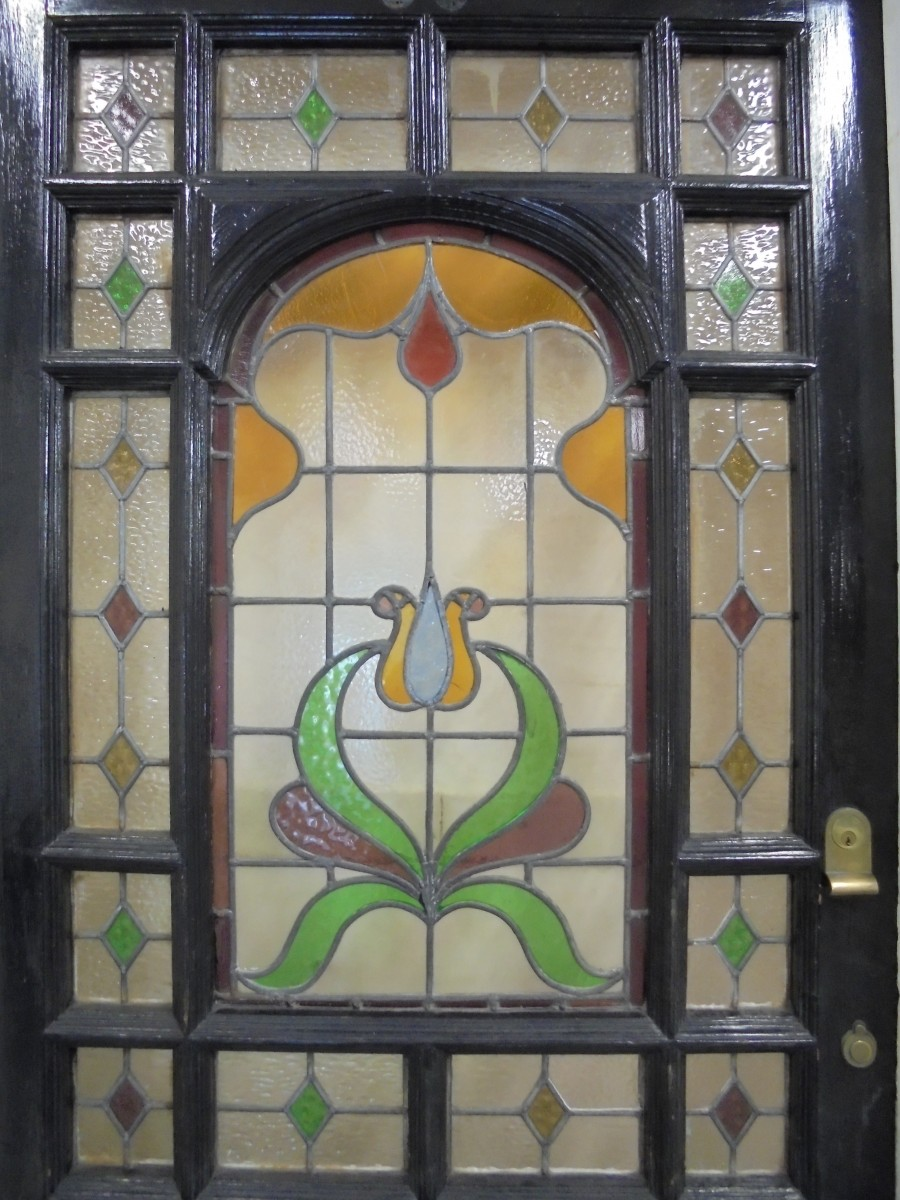 Edwardian Stained Glass Door And Frame Authentic Reclamation
