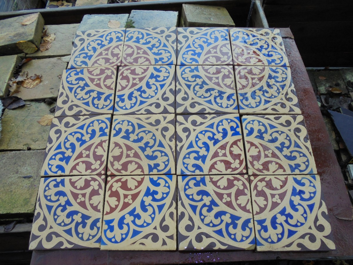 Reclaimed mosaic floor tile authentic reclamation a reclaimed mosaic floor tile these tiles fit together in the pattern displayed in the picture they would make a lovely porch or bathroom floor dailygadgetfo Image collections
