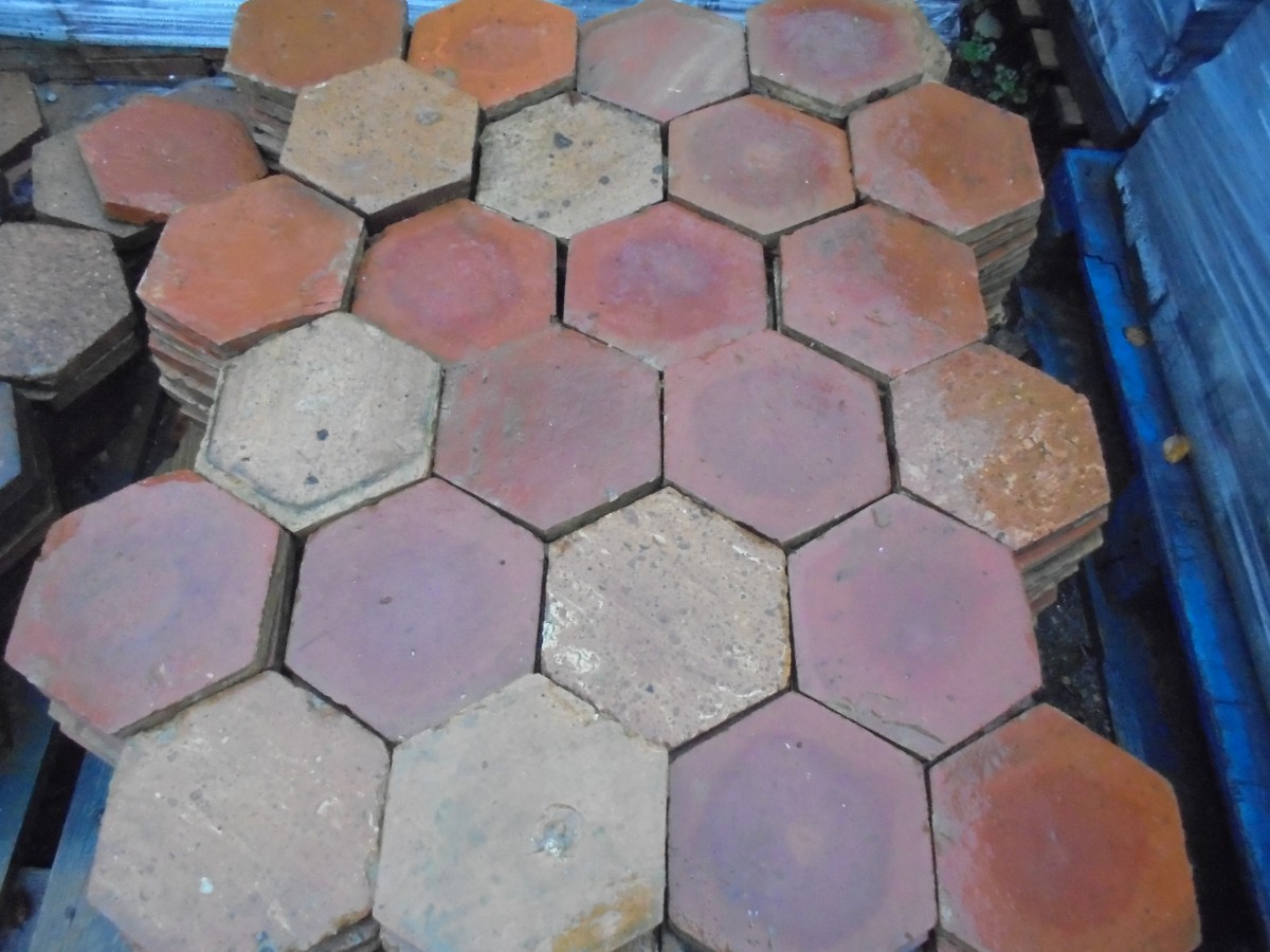 French hexagonal floor tiles authentic reclamation a french hexagonal floor tile these tiles have been reclaimed from french country houses and would look great laid as a kitchen floor dailygadgetfo Choice Image