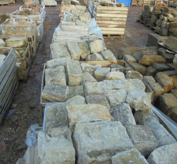 reclaimed dressed rag stone walling