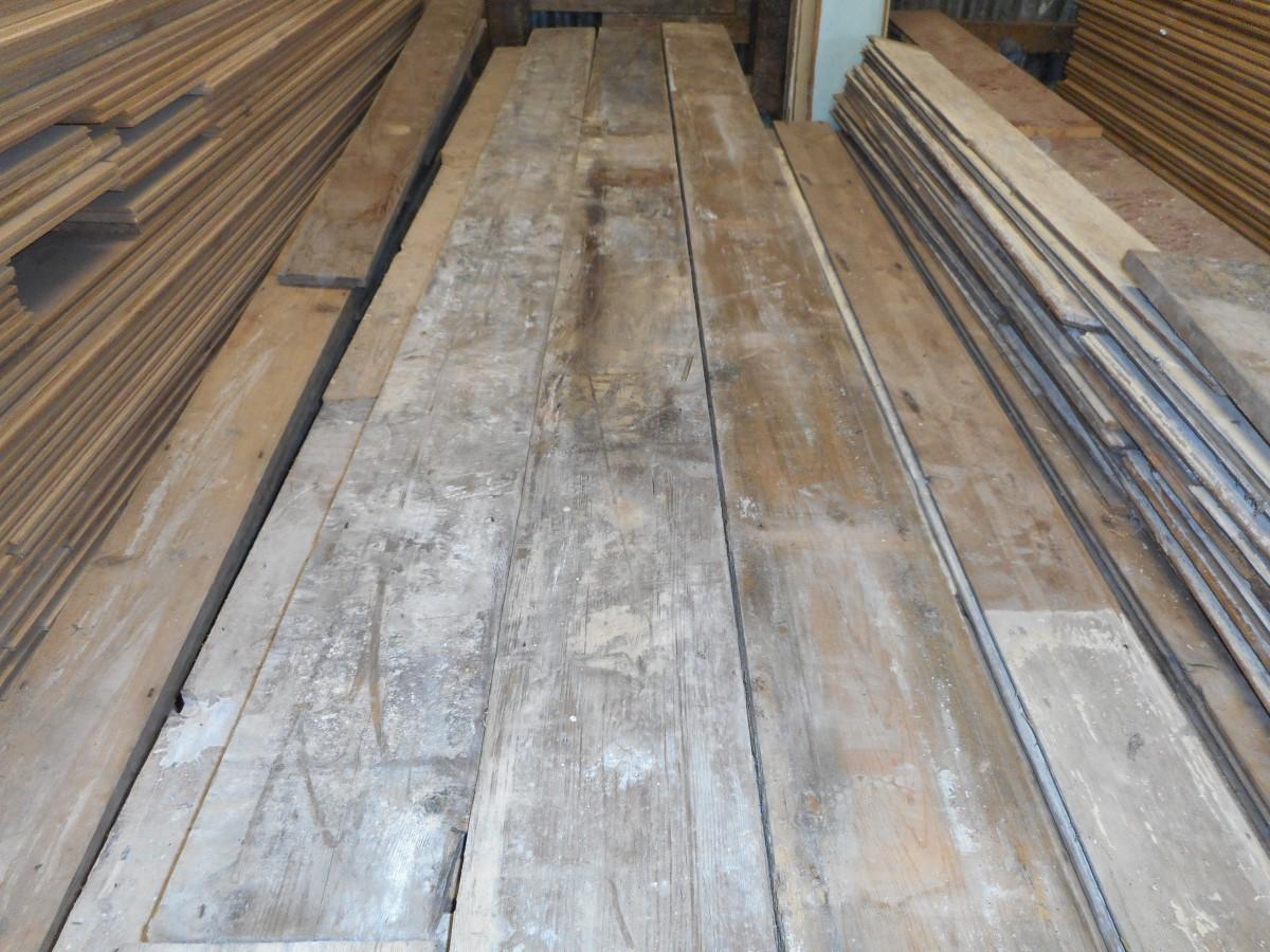 salvaged pine flooring