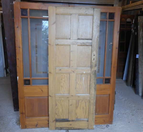 half painted reclaimed 8 panel door