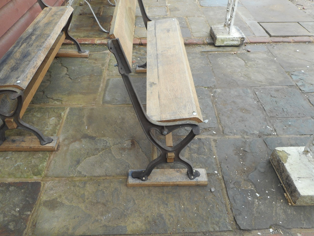 Oak Bench With Cast Iron Ends Authentic Reclamation