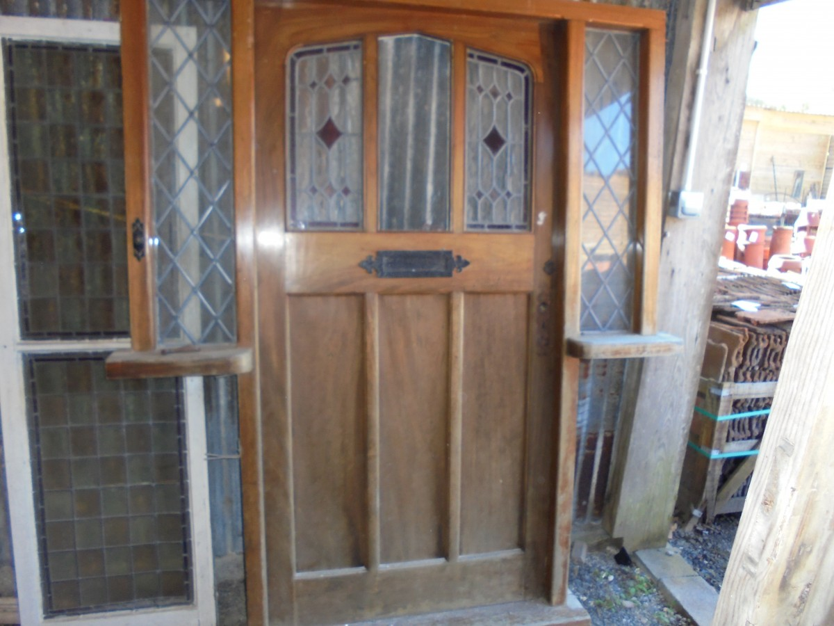 Reclaimed Hard Wood Front Door With Stained Glass Authentic