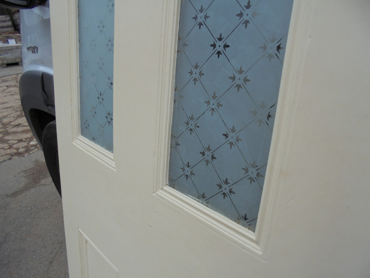 Victorian 4 Panel Etched Glass Door With Fleur Glass Design