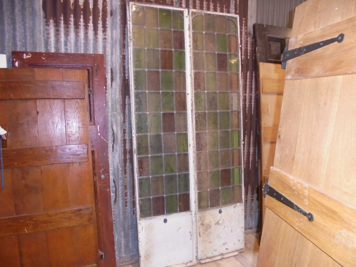 Pair Of Stained Glass French Doors Authentic Reclamation