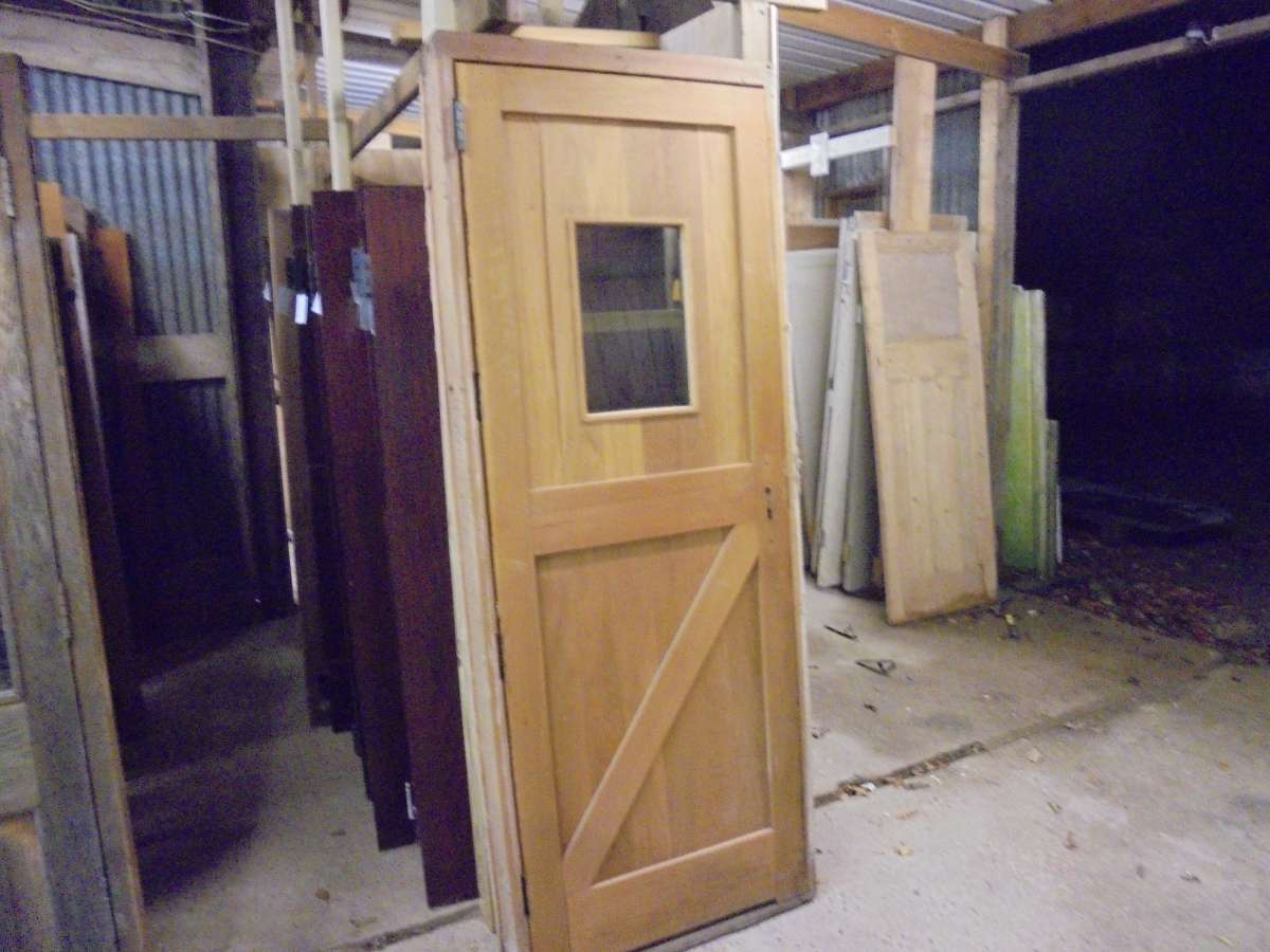 Glazed ledge & brace door in frame - Authentic Reclamation