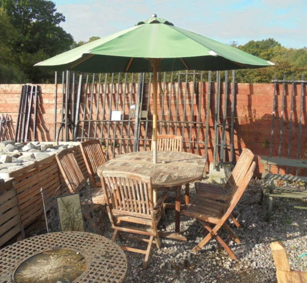 Reclaimed, Garden Table, Chairs, Umbrella Set