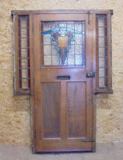 oak feature door with stained glass