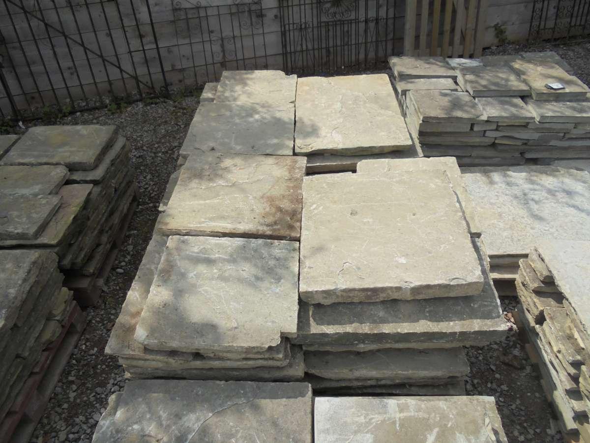 Modern reclaimed york stone slabs.