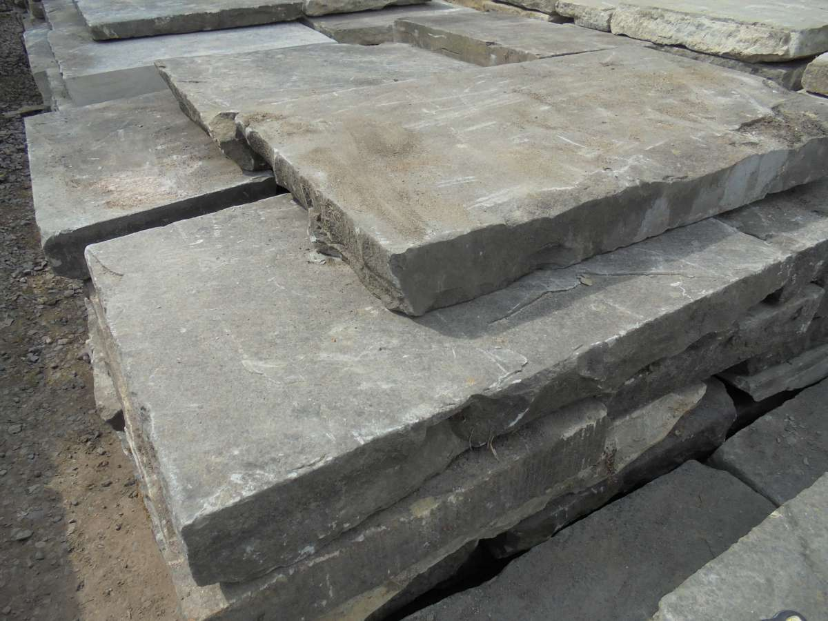 Thick reclaimed york stone paving