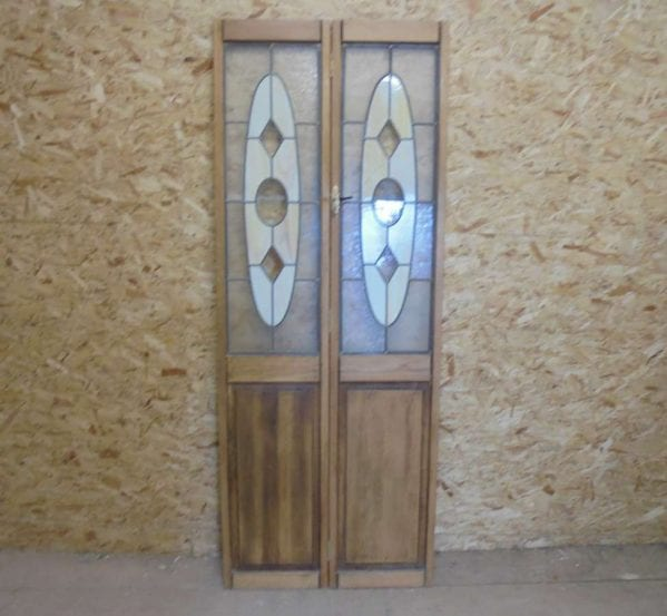 Reclaimed Bi Fold Stained Glass Doors
