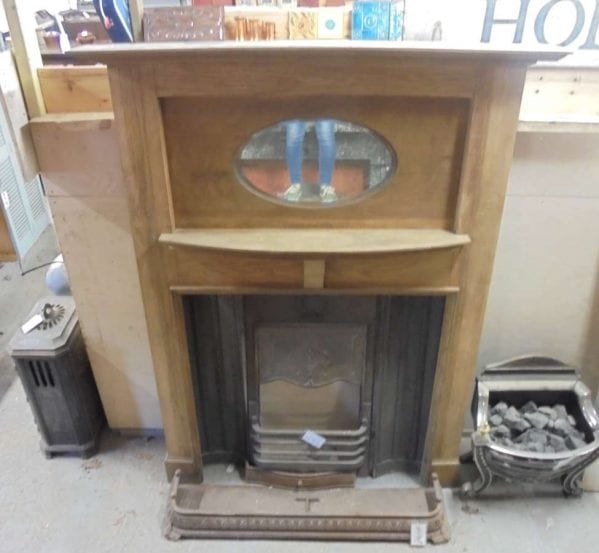 Reclaimed Mirror Wooden Fire Surround