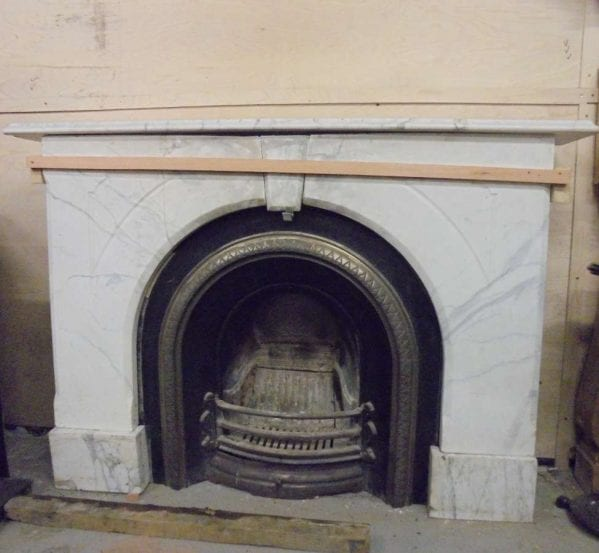 Reclaimed White Marble Fire Surround