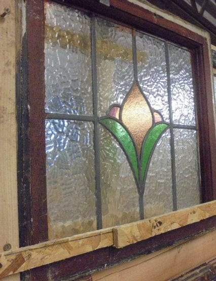 Reclaimed stained glass window