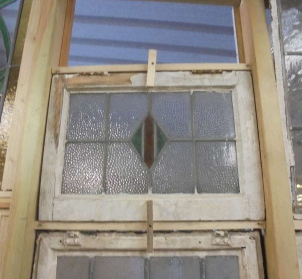 Reclaimed diamond style stained glass window