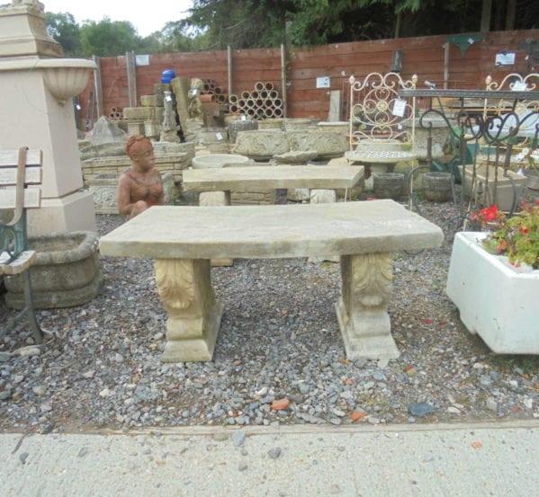 Stone Curved Garden Bench