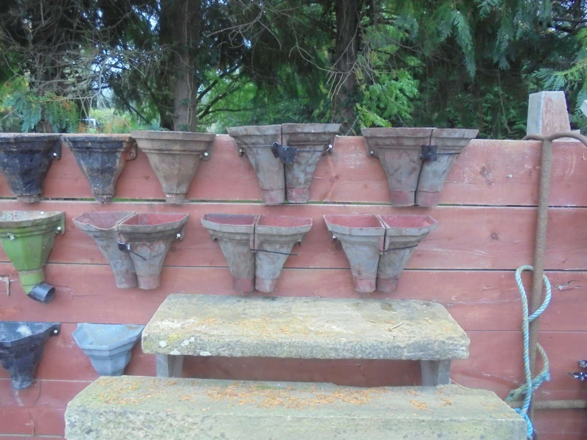 SELECTION OF RECLAIMED CAST IRON CORNER HOPPERS