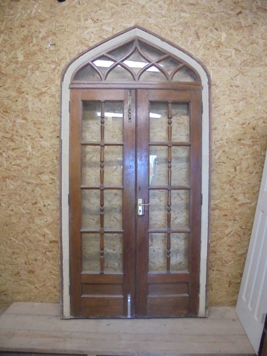 Oak Gothic Revival Glazed Double Doors Authentic Reclamation