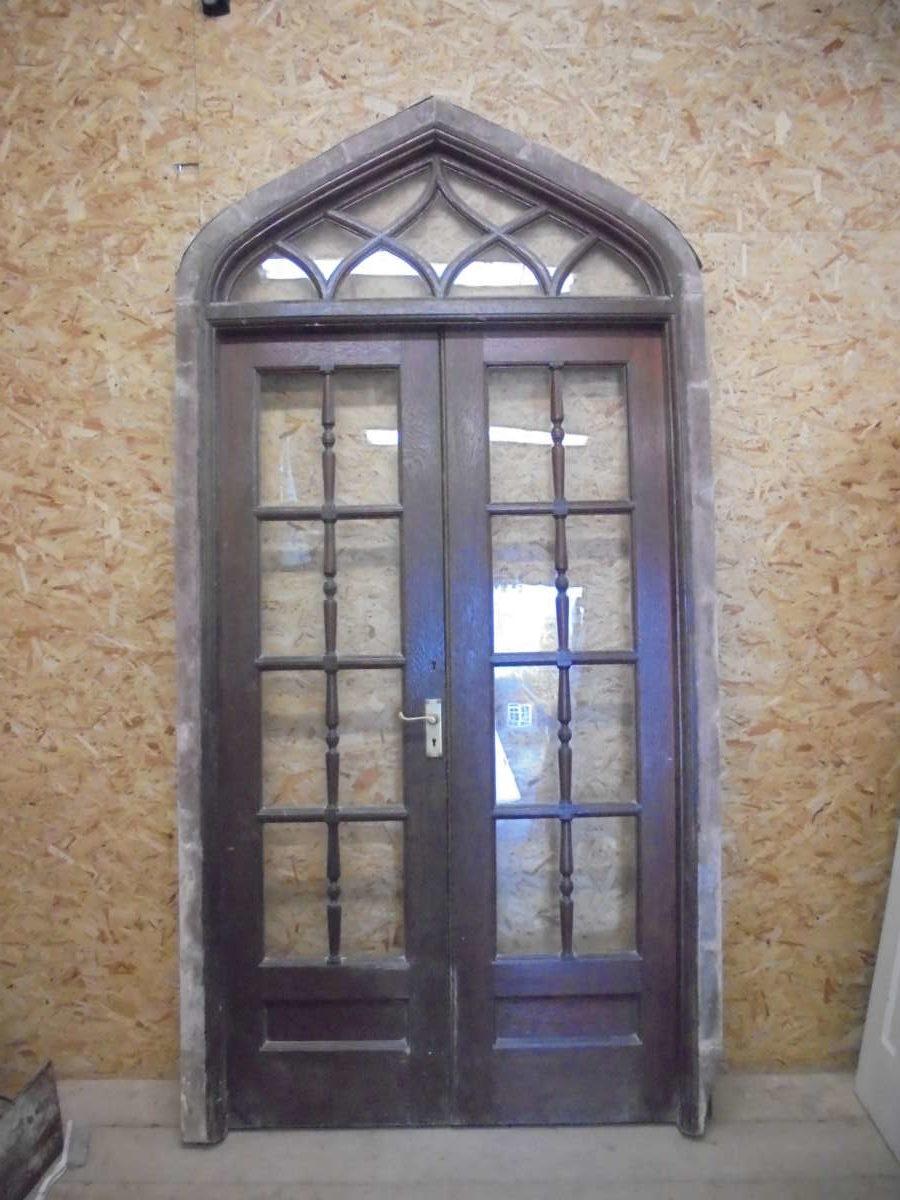Oak Gothic Revival Glazed Double Doors Authentic Reclamation