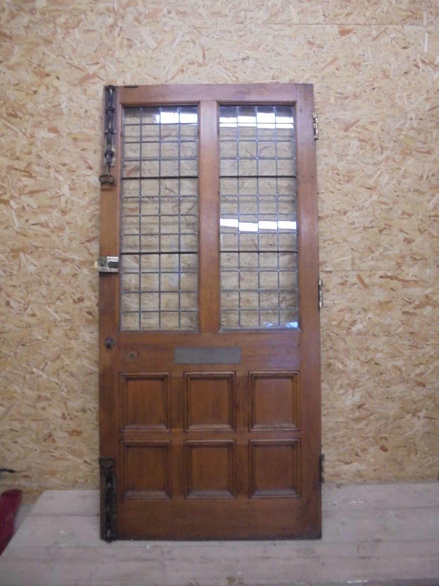 Solid oak half glazed 8 panel door authentic reclamation for 8 panel solid wood doors