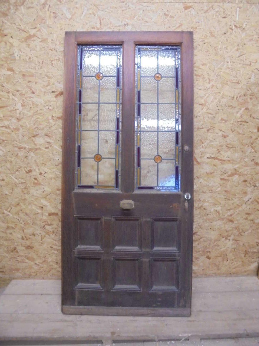 Half glazed stained glass 8 panel oak door authentic for 10 panel glass door