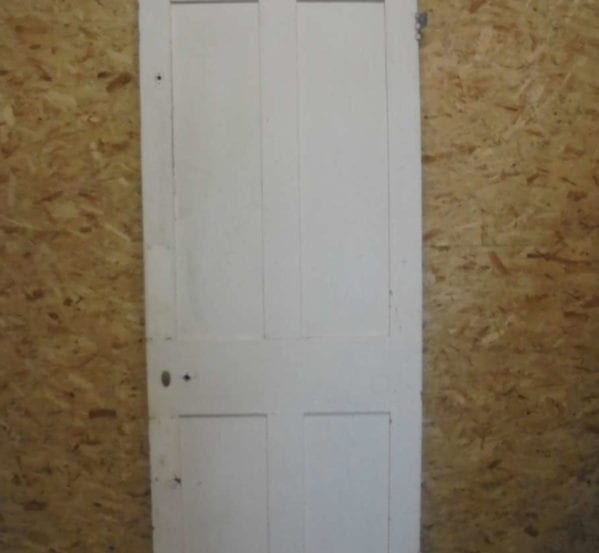 White/Grey Painted Plain 4 Panelled Door