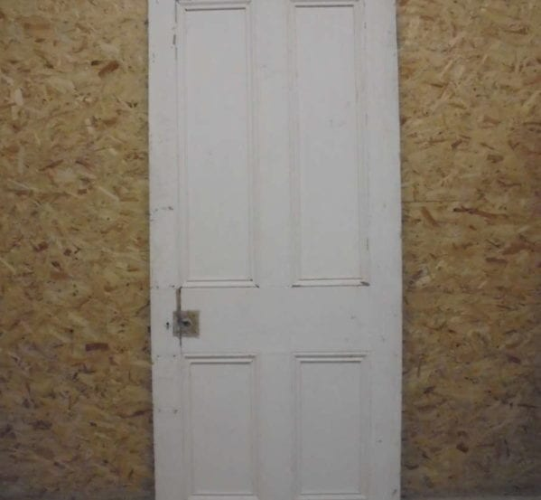 White half Stripped 4 Panelled Door
