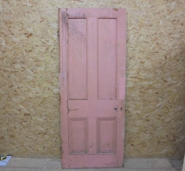 White Pink 4 Panelled Door